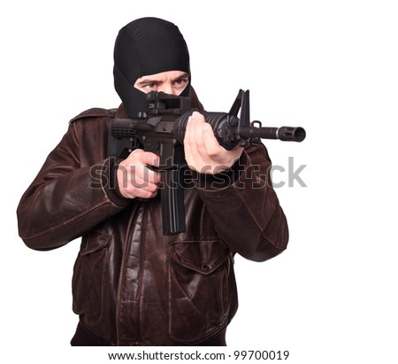 portrait of criminal with m4 rifle on white - stock photo