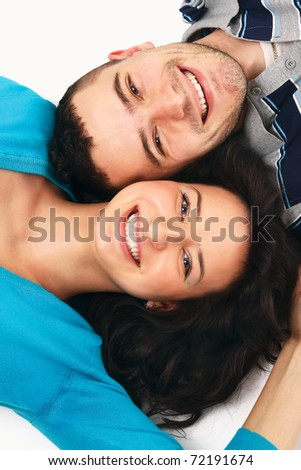 portrait of crying beauty young love couple - stock photo