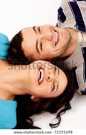 portrait of crying beauty young love couple