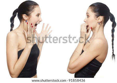 portrait of crying girl to herself scared isolated on white - stock photo