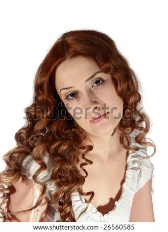 Portrait of curly long haired girl on white background