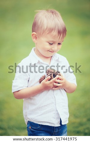 Portrait of  cute adorable little boy holding a bunch of pine cones on green blurry background, toned with Instagram filters, retro vintage film effect, selective focus, shallow depth of field - stock photo