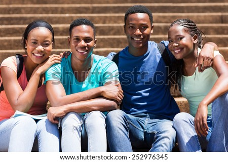 portrait of cute african american university students  - stock photo