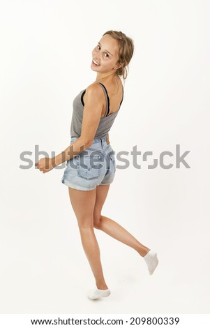 portrait of cute attractive young girl - stock photo