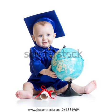 Portrait of cute baby boy in student hat with globe and scroll - stock photo