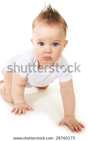 portrait of cute baby boy with blue eyes - stock photo