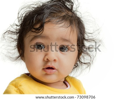 Portrait of Cute Baby Girl, Isolated, White - stock photo