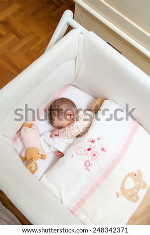 Portrait of cute baby girl sleeping in a cot with pacifier and stuffed toy - stock photo