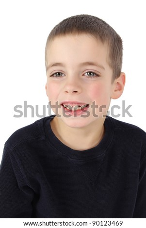 Portrait of cute brunette boy against white background - stock photo