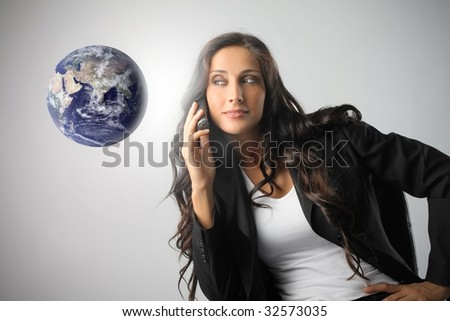 portrait of cute business woman with phone - stock photo