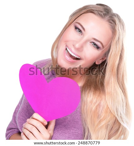 Portrait of cute cheerful female with big paper heart in hands isolated on white background, healthy lifestyle, happy Valentine day concept - stock photo
