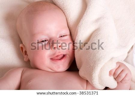 Portrait of cute child - stock photo