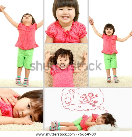 Portrait of cute child in different situations - stock photo