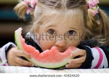 portrait of cute child outdoor - stock photo