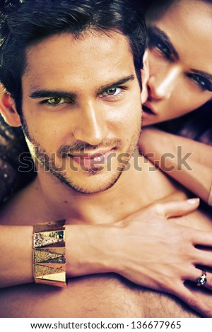 Portrait of cute couple - stock photo