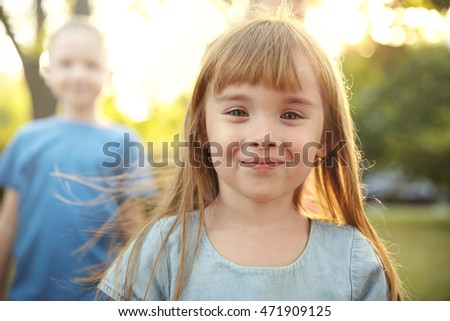 Portrait of cute girl in park