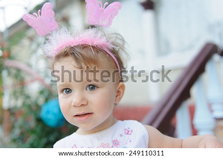 portrait of cute girl with gray eyes - stock photo