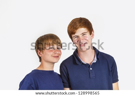 portrait of cute handsome brothers having fun together