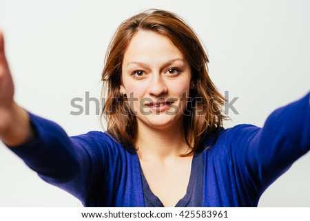 portrait of cute happy angel girl want to hug you, happy day - stock photo