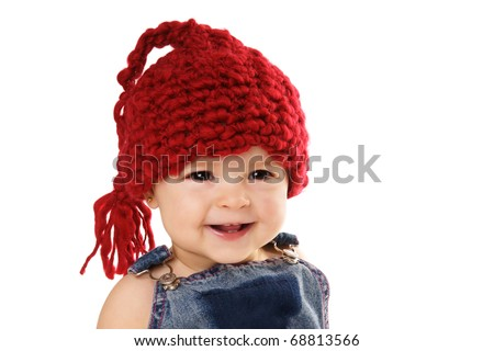 Portrait of cute happy laughing baby girl in funny hat isolated on white background - stock photo