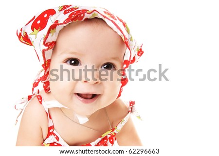 Portrait of cute happy laughing baby girl isolated on white background - stock photo