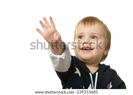 Portrait of cute happy little boy isolated on white background - stock photo