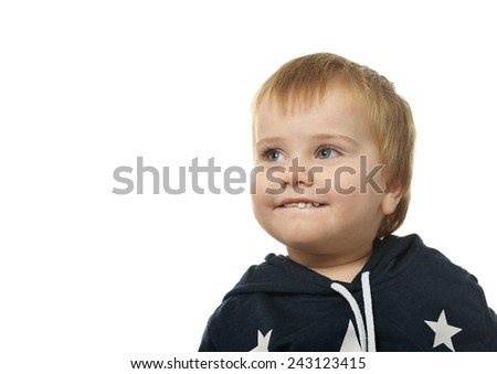 Portrait of cute happy little boy isolated on white background