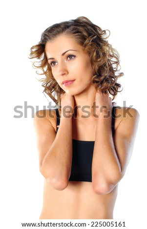 Portrait of cute happy woman - stock photo
