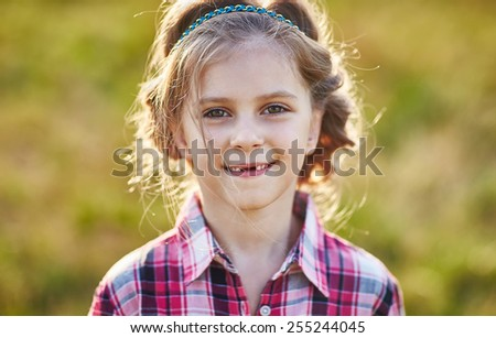 Portrait of cute kid. Country style - stock photo