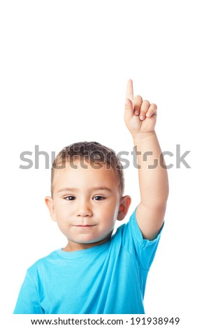 portrait of cute kid having a doubt over abstract background - stock photo
