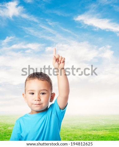 portrait of cute kid having a doubt over abstract background