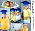 Portrait of cute kids in graduation hats over grey background - stock photo