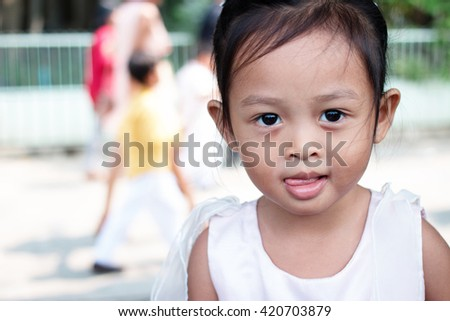 Portrait of cute little asian girl - stock photo