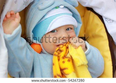 portrait of cute little baby outdoors