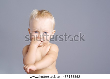 Portrait of cute little boy - stock photo