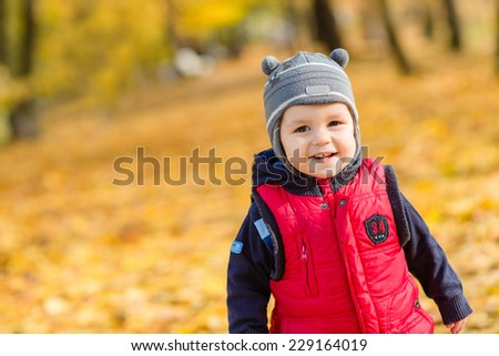 Portrait of cute little boy enjoying autumn nature, pretty infant playing in park, cheerful baby boy having fun outdoors, adorable kid in fall forest, happy child play with dry orange maple leaves - stock photo