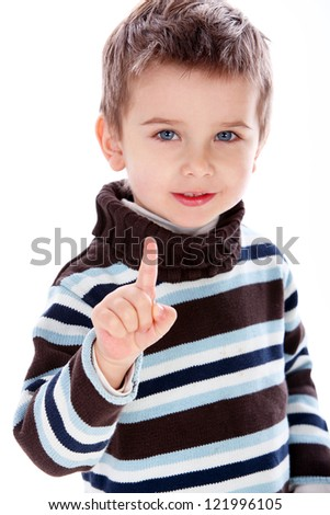 Portrait of cute little boy isolated on a white background - stock photo