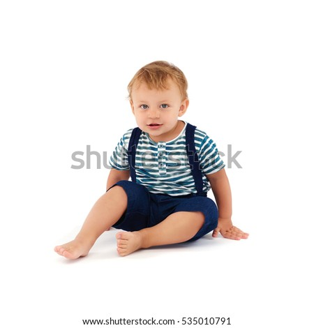 Portrait of cute little boy, isolated on white