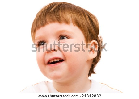 Portrait of cute little boy. Isolated over white
