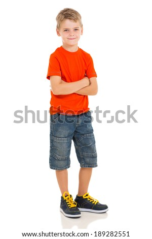 portrait of cute little boy posing on white background - stock photo