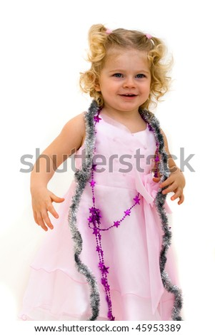 portrait of cute little child isolated on white - stock photo