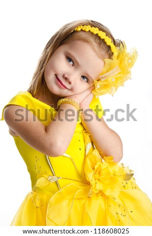 Portrait of cute little girl in princess dress isolated - stock photo
