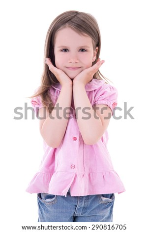 portrait of cute little girl isolated on white background
