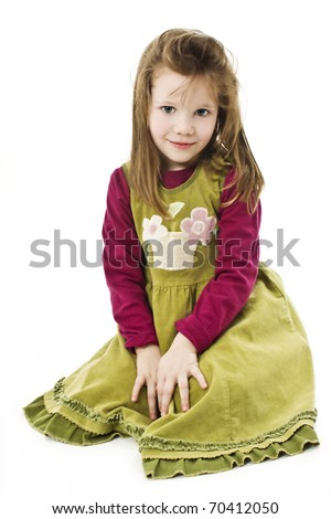 Portrait of cute little girl, studio shoot - stock photo