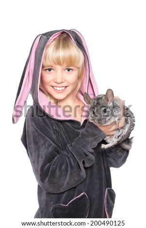 Portrait of cute little girl with chinchilla. Isolated on white - stock photo