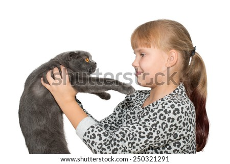 Portrait of cute little girl with grey cat isolated - stock photo