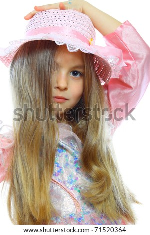 portrait of cute little girls isolated on white - stock photo
