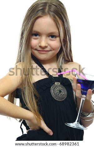 portrait of cute little girls with drink - stock photo