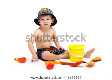 portrait of cute little playful boy isolated on white - stock photo