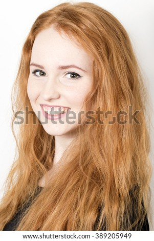 portrait of cute redheaded girl - stock photo